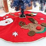 "Aitey Christmas Tree Skirt, 3D Woven 42"" Diameter Santa, Snowman, Reindeer, Xmas Character Plush Holiday Decoration"