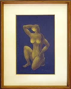 ◆永瀬義郎◆【黒髪】紺紙金彩木版画◆額付