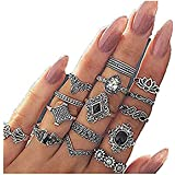 LALANG 15 Pcs/Set Retro Women's Punk Antique Flower Engraving Mini Finger Ring,Female Bohemian Knuckle Jewelry