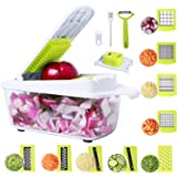 Vegetable Chopper 14in1 Food Chopper Onion Chopper Vegetable Cutter Mandoline Slicer Dicer Grater Peeler w/Large Container, 2