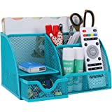 PAG Office Supplies Mesh Desk Organizer Pen Holder Accessories Storage Caddy with Drawer, 7 Compartments, Blue