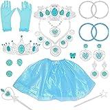 Tagitary プリンセスアクセサリー お姫様ごっこ 子供コスチューム ティアラ グローブ ミニスカート ネックレス 指輪 魔法の杖など21点付き豪華おもちゃセット 子供誕生日 パーティー 祝いプレゼント 女の子おもちゃ 6歳以上適用