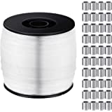 Strong Clear Invisible Hanging Wire 1mm up to 100lbs, 656 Feet Strong Nylon Thread with 100 Pieces Aluminum Crimping Loop Sle