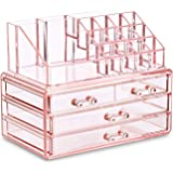 Ikee Design Pink Jewelry & Cosmetic Storage Display Boxes Two Pieces Set.