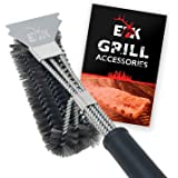 """ELK Grill Brush and Scraper BBQ Brush Set, Safe 17"""" Stainless Steel Woven Wire 3 in 1 Bristle Grill Cleaning Brush for Weber"""
