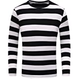 OThread & Co. Men's Long Sleeve Striped T-Shirt Basic Crew Neck Shirts