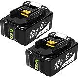 Mrupoo バッテリー BL1860B マキタ バッテリー 18v 6.0Ah 互換バッテリー 3段階LED残量表示付き 電動工具用バッテリー リチウムイオン電池 充電池 battery BL1830B BL1840B BL1850B BL1860