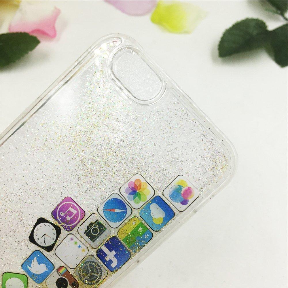 65b310f630 iPhone ケース 流れる アイコン キラキラ ラメ 可愛い プリンセス ガラスフィルム付き【iPhone7/8専用