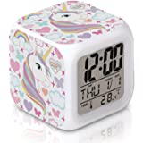 DTMNEP Unicorn Alarm Clock for Kids, LED Digital Bedroom Alarm Clock Easy Setting Cube Wake Up Clocks with 4 Sided Unicorn Pa