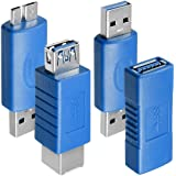 4種 USB 3.0 アダプター AFUNTA USB 3.0 Type-A メス - メス 、 オス - オス 、 タイプA メス - メス と マイクロB オス - タイプ A オス, 高変換速度 延長カプラ コネクタ