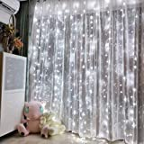 Honche 300L Led Curtain String Lights USB with Remote for Bedroom Wedding (Cool White)