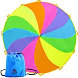 Ascot Products | Parachute for Kids 12 ft 12 Handles Angel Rainbow Parachute Indoor Outdoor Games Toy Play Parachute
