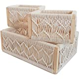 Set of 3 Decorative Nesting Boxes with Pine Wood and Woven Cotton Rope Frame, Suitable for Home Decor, Shelf Organisation, Be