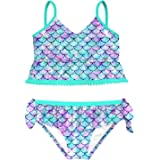 swimsobo Girls Swimsuits Two Piece Bathing Suit Sets 3D Printed Tankini Swimwear for 3-12 Years