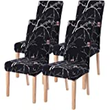 SearchI 6 Pack Super Fit Stretch Removable Washable Short Dining Chair Covers Slipcover Protector, Spandex Fabric Chair Cover