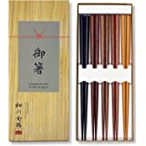 Reusable Japanese Chopsticks Durable Lightweight Wood 5 Pairs Set Unique in Gift Box Durable and Dishwasher Safe (5, Wood (As