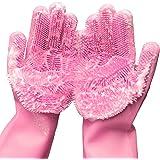 Magic Saksak Dishwashing Cleaning Sponge Gloves,1 Pair Reusable Silicone Brush Scrubber Gloves Heat Resistant for Dish washin