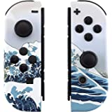 eXtremeRate The Great Wave Patterned Joycon Handheld Controller Housing with Full Set Buttons, Soft Touch Grip DIY Replacemen