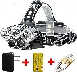 最も優秀LEDしいアップグレード LEDヘッドライト 超高輝度防水(3 * T6 + 2 * COB) 屋外作業ヘッドライト USB充電式 ヘッドライト 6つの照明モード 登山 夜釣り 工事作業 自転車 ハイキング キャンプ