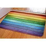 HUGS IDEA Rustic Old Barn Wood Rainbow Colors Doormat Welcome Door Mats Indoor Bathroom Rugs Entrance Floor Carpet Home Offic