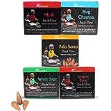 ARO VATIKA Natural Masala Backflow Assorted Incense Cones Combo 'A' of 5 Packets Consists Total 50 Cones (Nag Champa, Dragons