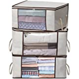 MISSLO Thick Oxford Clothing Organizer Storage Bags, 3 Piece Set (Beige)