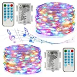 Led String Lights Battery Powered,[2 Pack] Music Fairy String Lights with12 Modes/Timer, Waterproof 100 LED 32.8ft Sound Acti