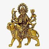Aakrati Brass Durga Ji Metal Idol for Home, Yellow