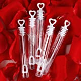 56 Pack Mini White Heart Bubble Wands- Perfect Bubble Toy Ideal Party Favors for Weddings Support and Anniversaries, Valentin