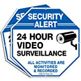 """2-Pack Video Surveillance Signs, 10""""x 10"""" Rust Free .040 Aluminum Security Warning Reflective Metal Signs, Indoor Or Outdoor"""