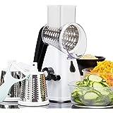 Vegetable Slicer/Shredder, Rotary Cheese Grater Food Chopper Slicer with Peeler & Suction Base, 3 Stainless Steel Blades