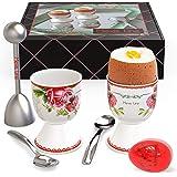 Egg Cups and Topper Cracker Set, Soft Hard Boiled Egg Cooker Tool, Includes 2 Eggs Holder with German Rose Design, 1 Egg Time