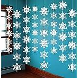 12PCS Snowflake Winter Wonderland Birthday Decorations - Christmas Hanging White Party Decor Supplies Wall Cutouts