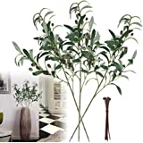 28-Inch Artificial Olive Branches Plants Stems Fake Plants Green Leaves Fruits Branch Leaves Home Office ndoor Outside DIY-Wr