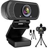 Webcam HD 1080p Web Camera, USB PC Computer Webcam with Microphone, Laptop Desktop Full HD Camera Video Webcam 110-Degree Wid