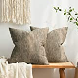 MIULEE Pack of 2 Decorative Burlap Linen Throw Pillow Covers Modern Farmhouse Pillowcase Rustic Woven Textured Cushion Cover