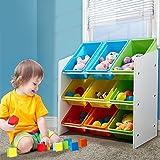 Levede 9 Bins Kids Toy Box Bookshelf Organiser Display Shelf Storage Rack Drawer