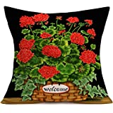 Hopyeer Summer Decorative Throw Pillow Cover Case,Bowknot Fireworm with Bottle Quote Art Painting Cotton Linen Outdoor Pillow