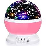 Baby Night Lights, Moon Star Projector 360 Degree Rotation - 4 LED Bulbs 8 Color Changing Light, Romantic Night Lighting Lamp
