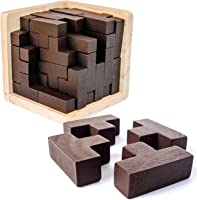 3D Wooden Brain Teaser Puzzle by Sharp Brain Zone. Genius Skills Builder T-Shape Pieces with Tetris Fit. Educational Toy...