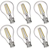 FLSNT A19/A60 LED Edison Light Bulbs 60W Equivalent B22 Base,7 Watts LED Filament Bulbs,2700K Soft White,Non-Dimmable,800LM,C