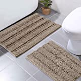 NICETOWN Bathroom Rugs Slip-Resistant Maximum Absorbent Soft Comfortable and Fluffy Bath Mat Set Chenille Toilet Rugs, Floor