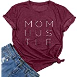 DUTUT Mom Hustle Graphic Tee T Shirt Women's Mom Short Sleeve Shirts Mother's Gift Funny Saying Tees Shirts Tops