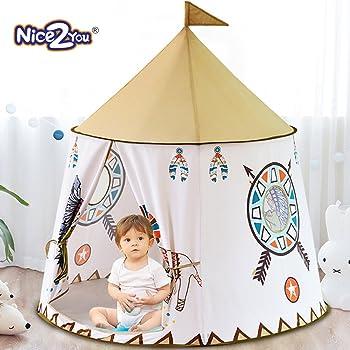 Nice2you インディアン子供テント 部落キャッスル遊具部屋 おもちゃ 折り畳み式 玩具収納 秘密基地 知育玩具 プレゼント キッズテント