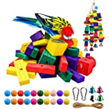 68 Pieces DIY Parrot Chew Toys, Craft Parrot Toys Coloful Natural Pine Wood Blocks Beads 190 Inch Hemp Rope - Small & Medium
