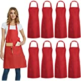 DUSKCOVE 8 Pack Bib Aprons Bulk - Unisex Red Commercial Apron with 2 Pockets for Kitchen Crafting BBQ Drawing Cooking