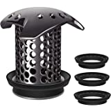 LEKEYE Drain Hair Catcher/Tub Drain Cover/Bathtub Shower Drain Protector/Strainer/Stainless Steel and Silicone-Black