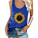 Tank Tops for Women Plus Size Loose Fit Sunflower Print Crew Neck Summer Cute Graphic T-Shirts Sleeveless Casual Tee Tops