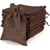 25Pcs Linen Burlap Bags with Drawstring Jute Jewelry Bag for Wedding Favor Snacks Pouches 3.9'' x 5.5'' (Coffee)