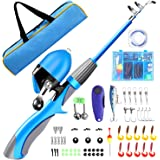 QiyuanLS Kids Fishing Pole, Portable Telescopic Youth Fishing Rod Reel Combo Kit with Travel Bag, Tackle Box and Spincast Fis